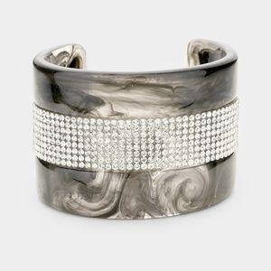 Swirled Black Crystal & Celluloid Cuff Bracelet